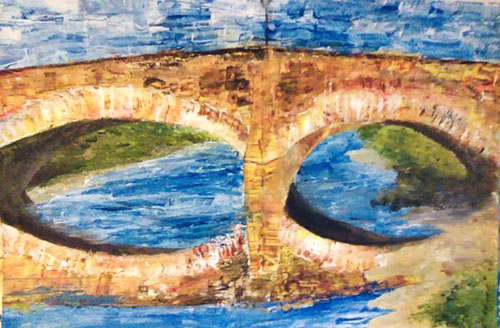 Telford Bridge, Acrylic on cardboard