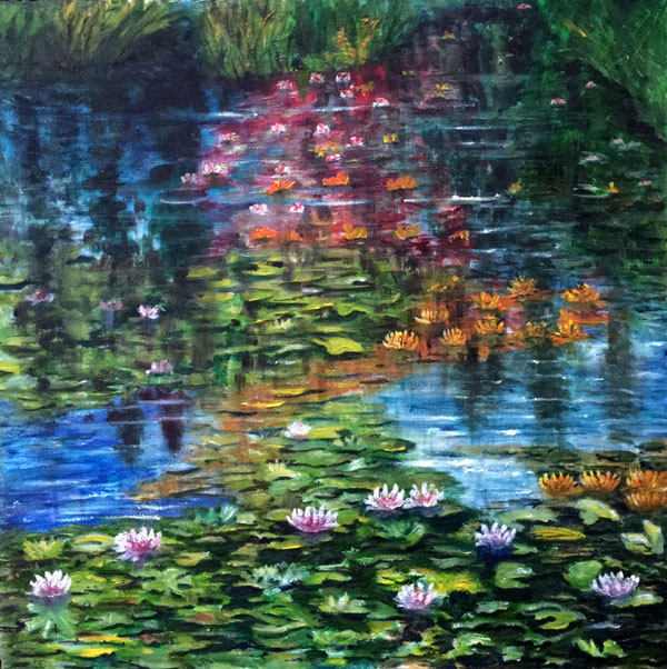 Water Lillies, Acrylics, 50 X 50 cm Box Canvas, £150