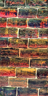 Brick Wall,  acrylic on card, using a 'credit card' technique