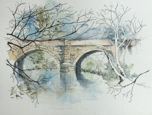 Hartford Bridge watercolour  45x55cms framed £90
