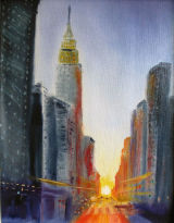 "New York sunrise, 9x11"", oil on board, framed, £160"