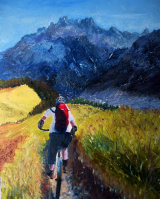 Mountain biking Mark, oils, 30x40cm, £200 SOLD