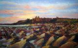 """Sunrise at Dunstanburgh, 16x22"""", in Pastel,  £80"""