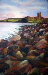 """Sunrise at Dunstanburgh, 14x21"""" in Pastel,  £80"""