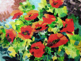 Red poppies, acrylics, 46x36cm, £75