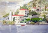 Villa Balbianello, Lake Como, watercolour, 24x16cm, £120