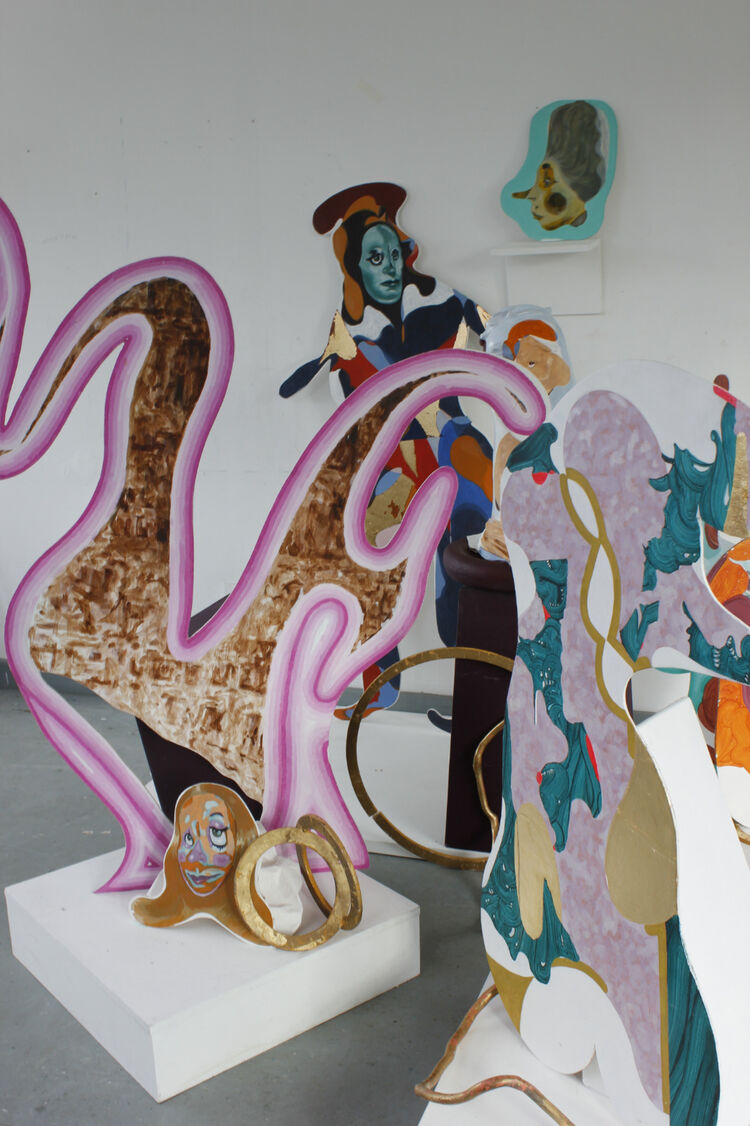 Installtion of Stephanie Douet's painted cutout