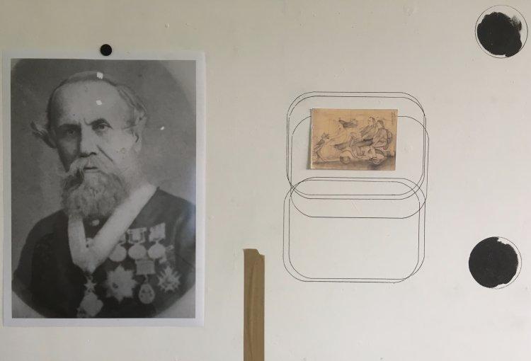 Wall drawing in studio