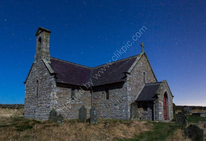 Moonlit Church with The Plough constellation