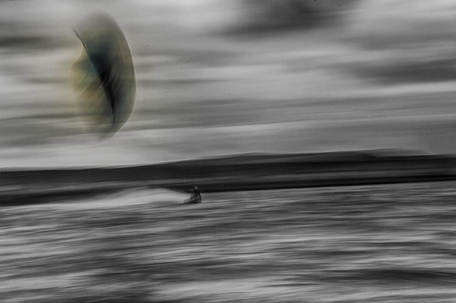 Kiter spraying - beach at the Ocean Record Studio Giske