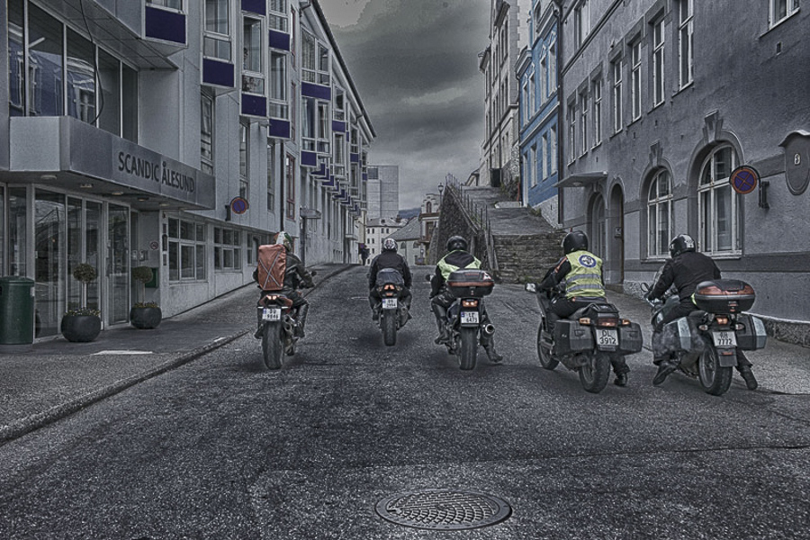 Bikers going home