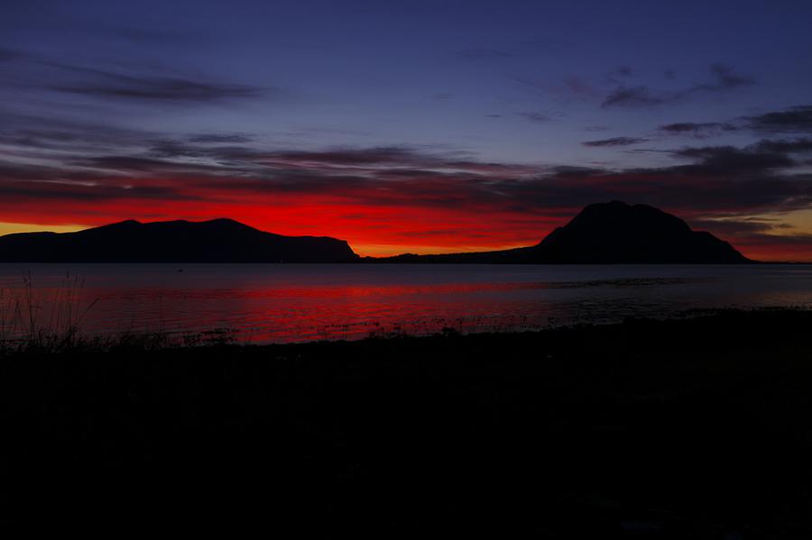 Sunset towards Flø Ulstein community