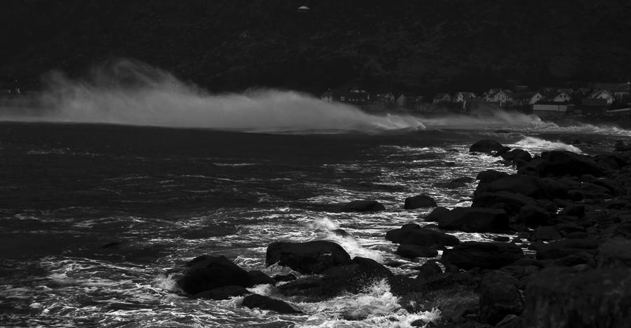 Alnes village in storm