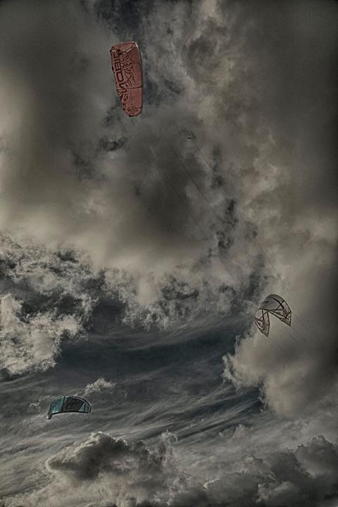 Kite schutes in the sky