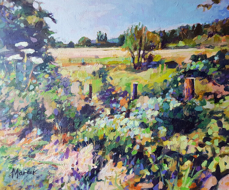 High summer hedgerow, Lockerbie. Contemporary Scottish landscape painting.Acrylic on canvas. By Marcer Campbell