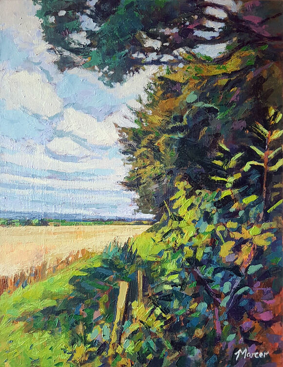 Treeline and wheatfield, Eskrigg. Lockerbie. Dumfries and Galloway. Contemporary Scottish landscape painting. Acrylic on canvas. By Marcer Campbell