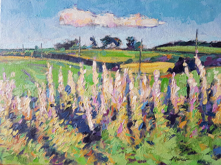 Rosebay Willowherbs, Lockerbie. Dumfries and Galloway. Contemporary Scottish landscape painting. Acrylic on canvas. By Marcer Campbell