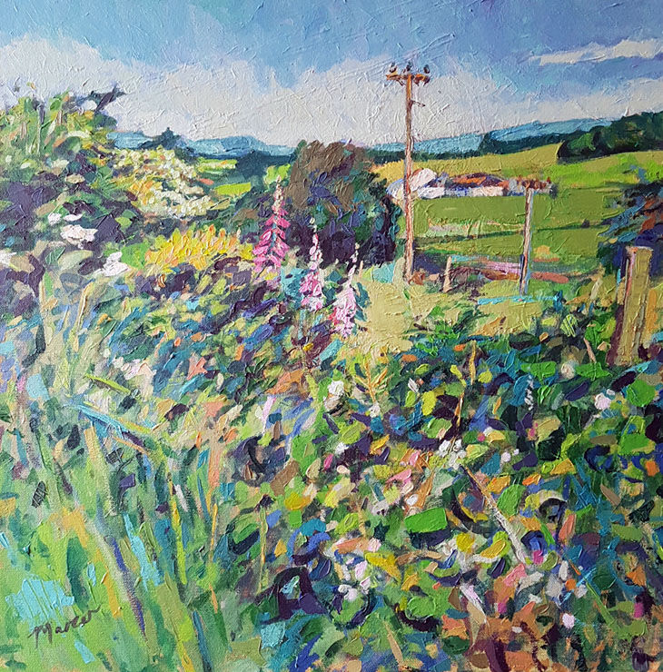 To Lochside Farm. Lockerbie. Dumfries and Galloway. Contemporary Scottish landscape painting. Acrylic on canvas. By Marcer Campbell