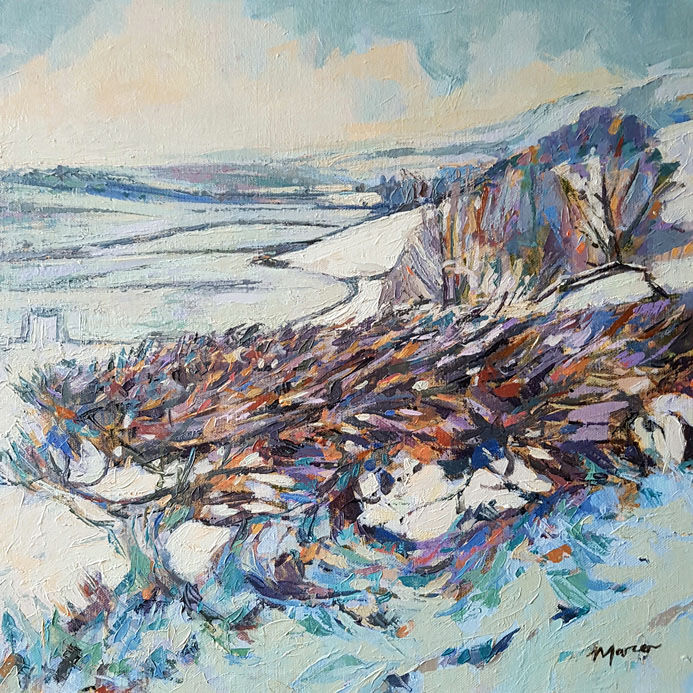 Comfortland Hill under snow. Lockerbie. Dumfries and Galloway. Contemporary Scottish landscape painting. Acrylic on canvas. By Marcer Campbell