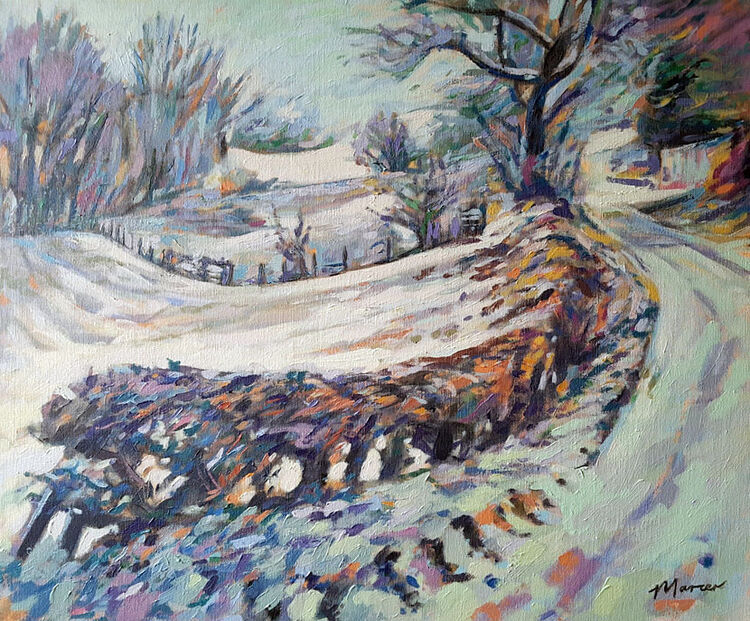 Winter view, Beckton Road. Lockerbie. Dumfries and Galloway. Contemporary Scottish landscape painting. Acrylic on canvas. By Marcer Campbell