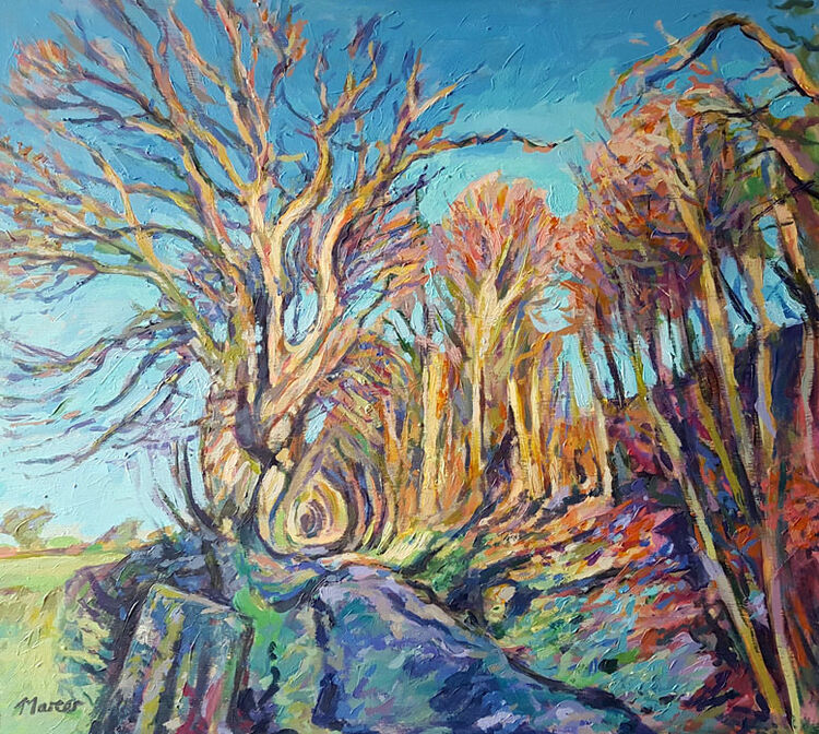 Winter trees, Lockerbie. Dumfries and Galloway. Contemporary Scottish landscape painting. Acrylic on board. By Marcer Campbell