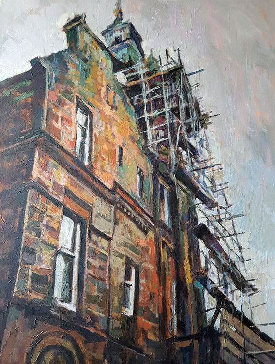The Old Town Hall, Lockerbie. Dumfries and Galloway. Contemporary Scottish landscape painting. Acrylic on canvas. By Marcer Campbell