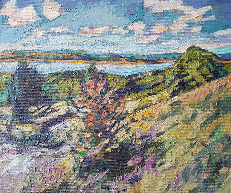 Arnside from Knot Hill. South Lakes. Cumbria. Contemporary British landscape painting. Acrylic on canvas. By Marcer Campbell
