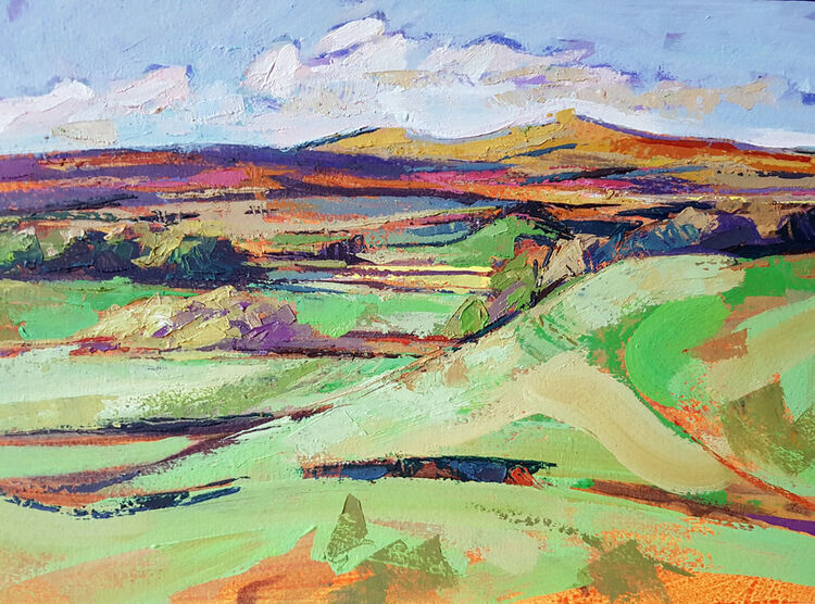Beyond Comfortland hill. Lockerbie. Dumfries and Galloway. Acrylic on board. By Marcer Campbell