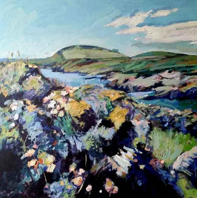 Colvend coastline. Dumfries and Galloway. Landscape painting. Acrylic on canvas. By Marcer Campbell