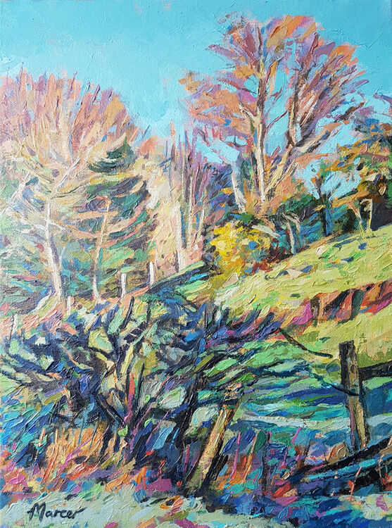 Embankment with winter trees. Dumfries and Galloway. Acrylic on canvas. By Marcer Campbell