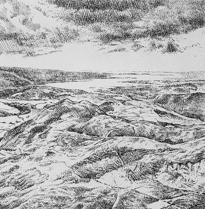 Towards Arnside, South Lakes. Contemporary British landscape drawing. Pen and ink drawing on cartridge paper by Marcer Campbell