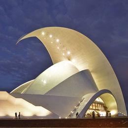 Tenerife Auditorium at dusk