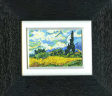 "After Van Gogh ""Wheat Field With Cypresses -  Framed Aceo size painting"