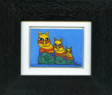 Colourful Cat Family -  Framed Aceo size painting