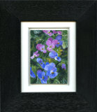 Miniature Pansies - Framed Aceo size painting
