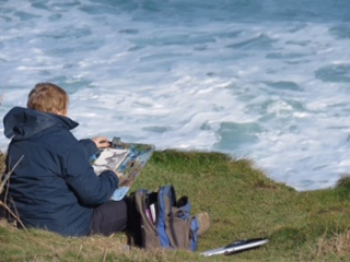 painting at Cape Cornwall