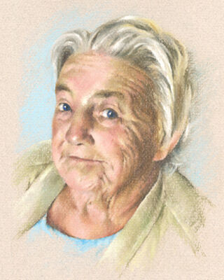 pastel portrait drawing of a lady