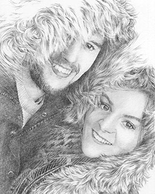 pencil drawing of man and lady
