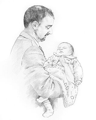 pencil portrait drawing of man and baby