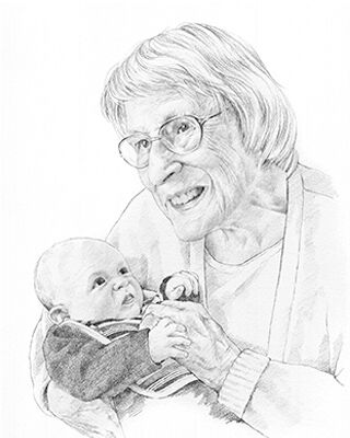 pencil drawing of grandmother and baby