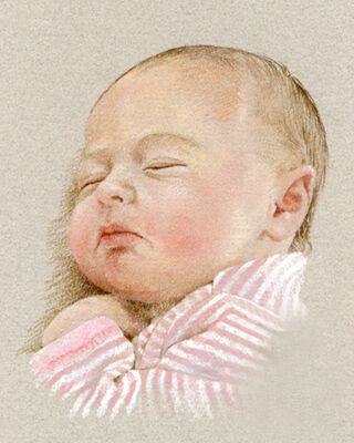 Baby pastel portrait drawing