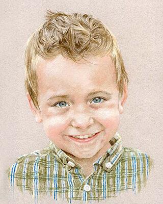 Pastel portrait drawing of a boy