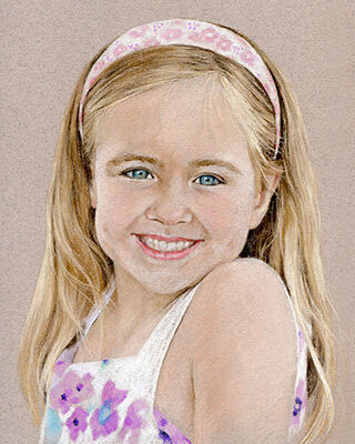 Pastel portrait drawing of a girl