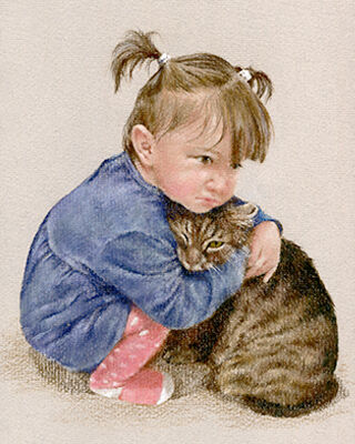 Pastel portrait drawing of a child and a cat