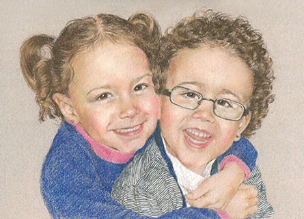 pastel portrait drawing of a girl and a boy