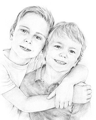 pencil drawing of 2 boys