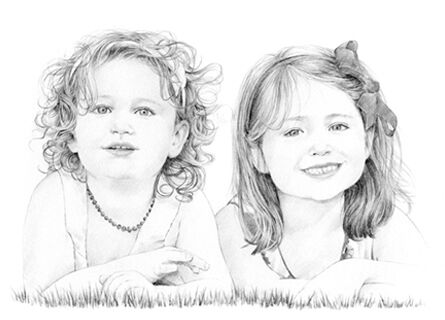 Pencil drawing of 2 children