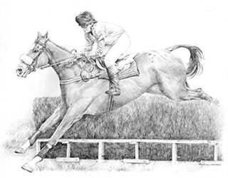 Pencil drawing of horse and rider