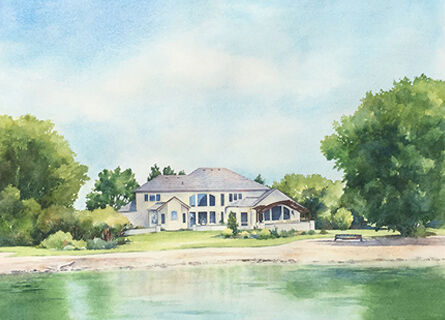 House watercolour painting