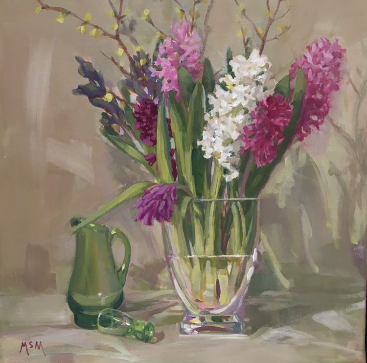 May 10th One Day Spring Flower Still Life Painting workshop £60 10am-4pm I will ask you to bring along a piece of silverware/glass, with your flowers. You will be guided right through from the setting up stage to mixing and application of paint All materials provided